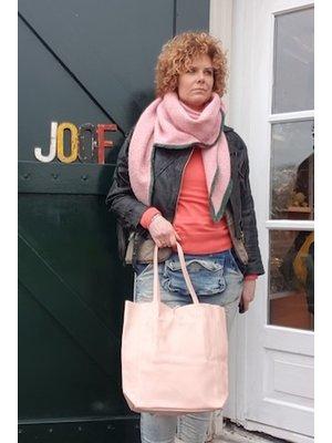 Joof Lichtroze basic leren shopper met touwtjes
