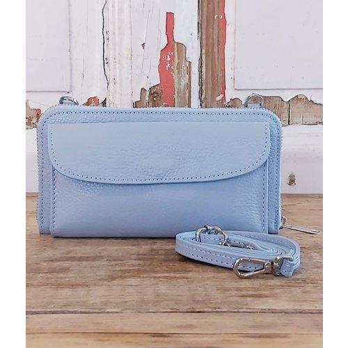 Joof Leren portemonnee uit Italie met hengsel ijsblauw