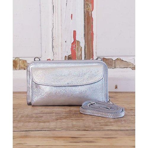 Joof Leren portemonnee uit Italie met hengsel zilver