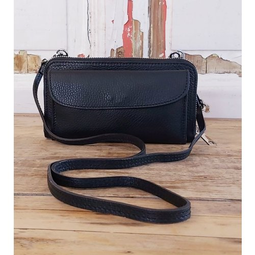 Joof Leren portemonnee uit Italie met hengsel zwart