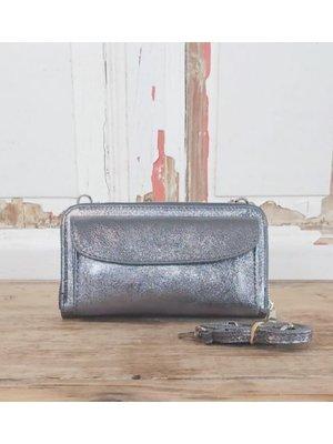 Joof Metallic leren portemonnee uit Italie met hengsel