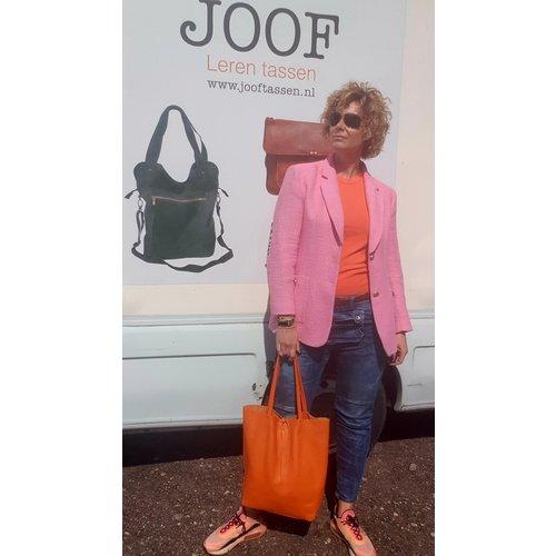 Joof Oranje basic leren shopper met touwtjes