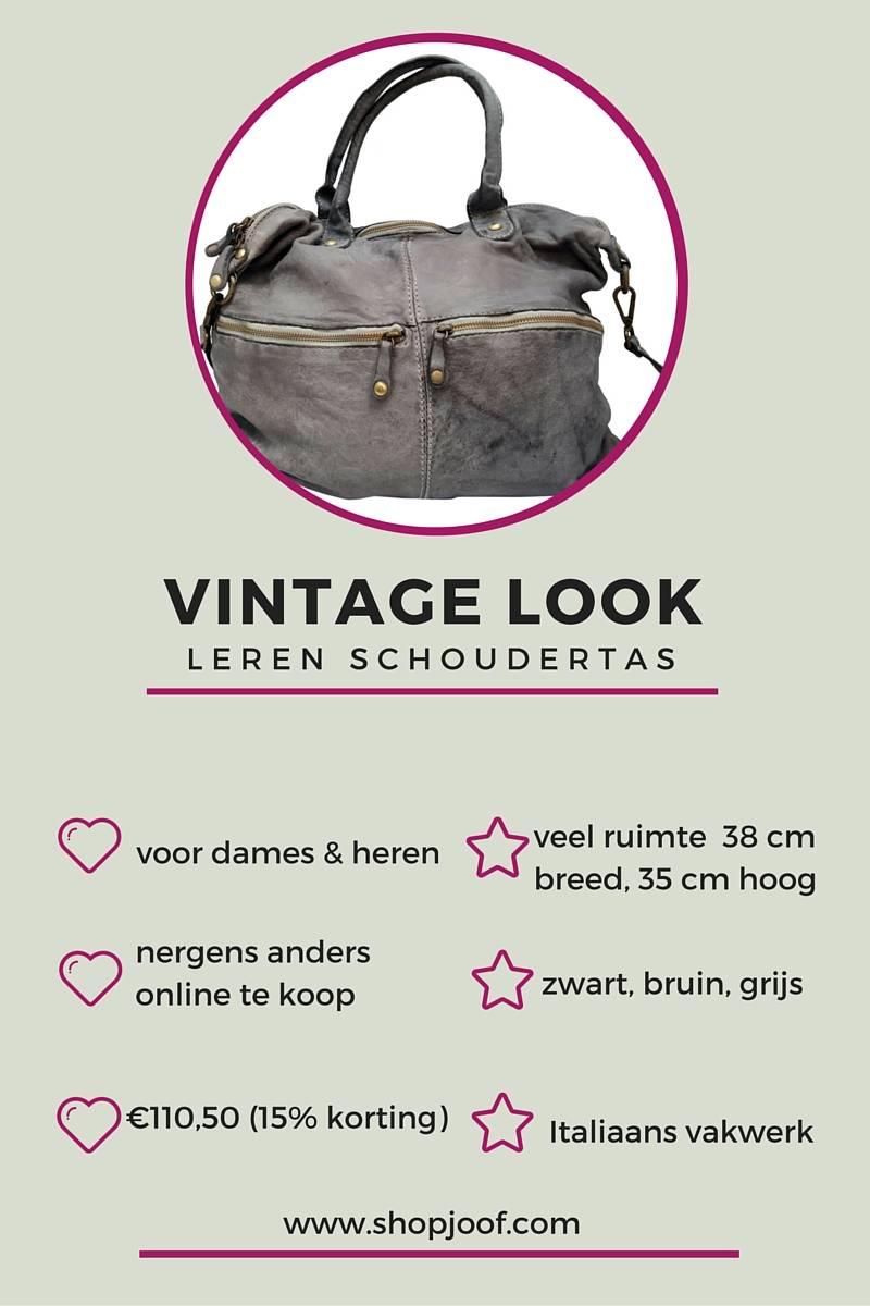 922663e6446 Stoere leren schoudertas met vintage look, goedkoper alternatief ...