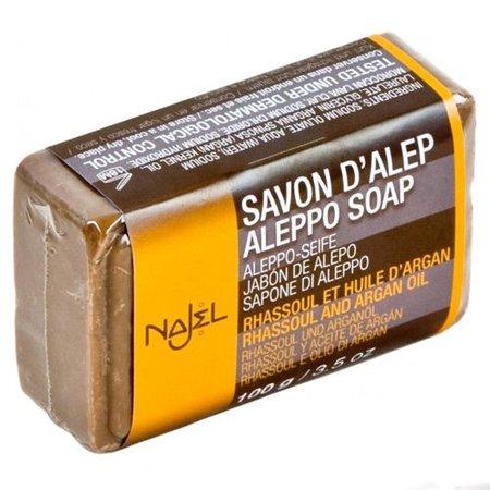 Najel Aleppo zeep blok Rhassoul en Argan olie 100 gram