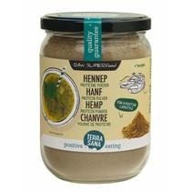 organic hemp protein powder in glass jar - 200g