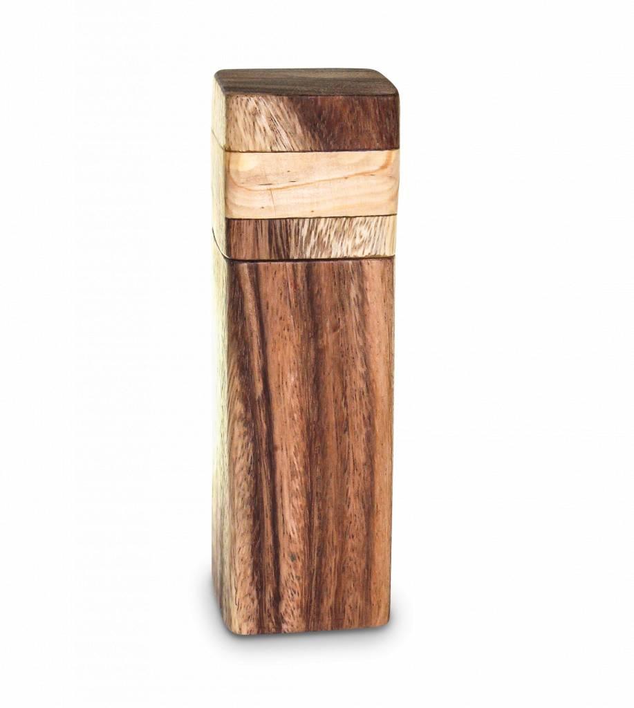 håndlavet fair trade peber eller salt mølle - træ