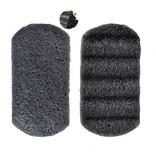 Konjac-Schwamm schwarz rechteckig geriffelt