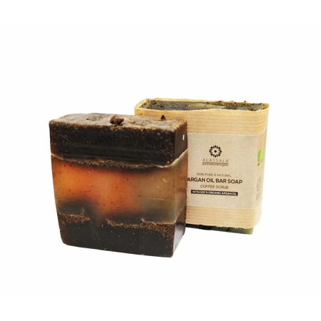 Alassala Zeepblok Coffee Scrub arganolie sæbe biologisk 100g