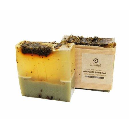 Alassala Zeepblok Franse klei en pepermunt Argan olie zeep Biologisch- 100 gram