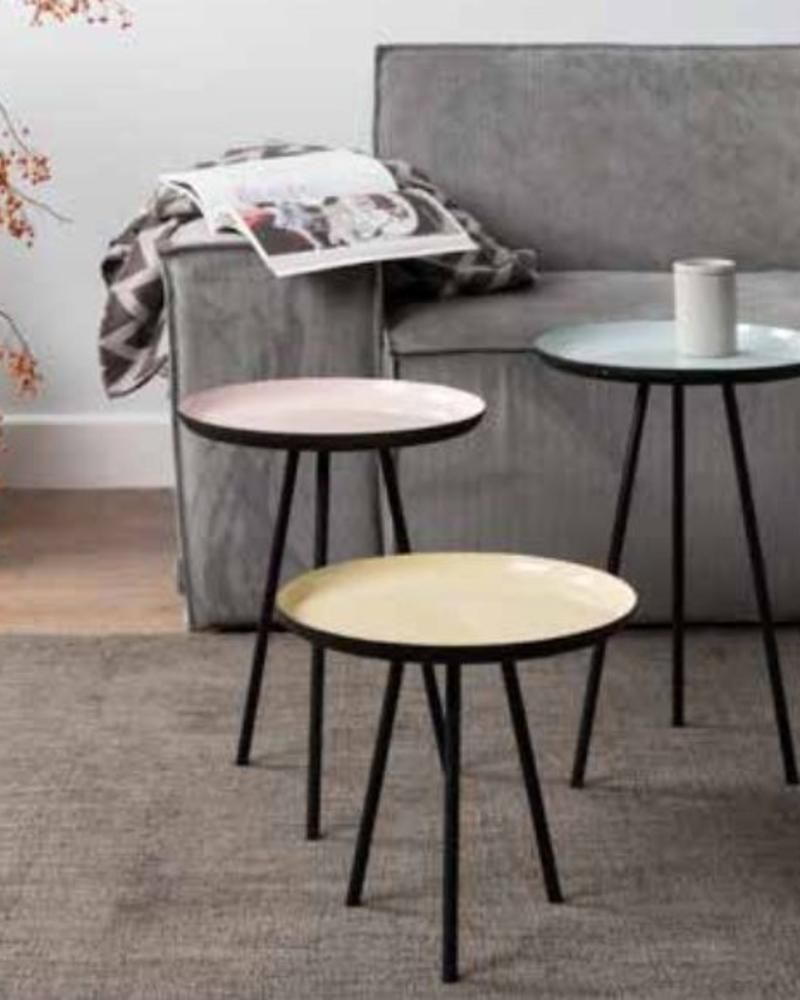 Zuiver Enamel set van drie tafeltjes