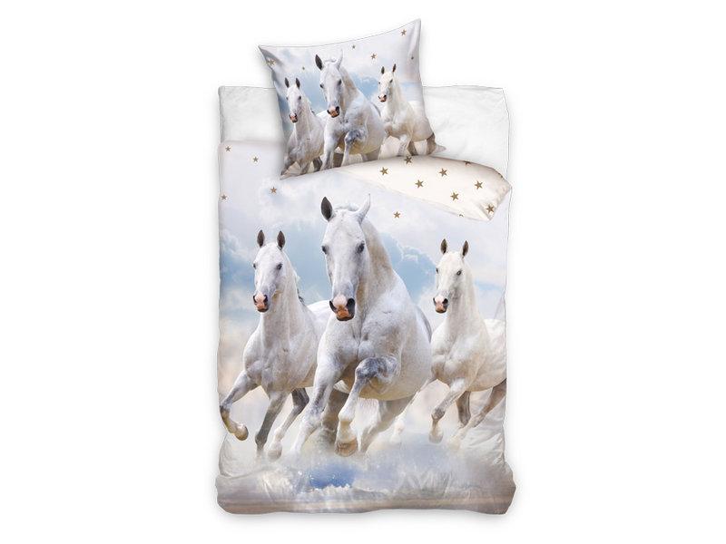 Dekbedovertrek White Horses (Wit)