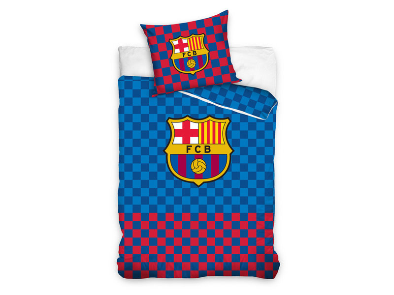 FC Barcelona FC Barcelona dekbedovertrek Checkered (Blue/Red)