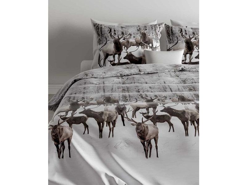 Zo! Home Zo! Home Flanel dekbedovertrek Reindeer (Taupe Grey)