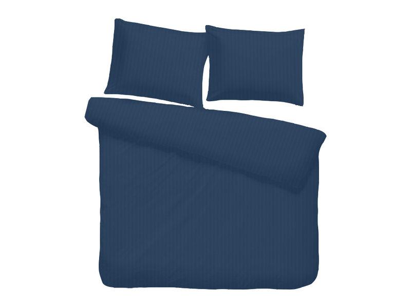 iSleep iSleep dekbedovertrek Satijnstreep (Donker Blauw)
