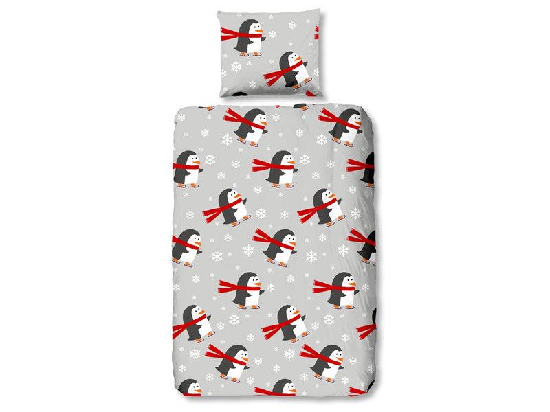 Good Morning Good Morning Flanel dekbedovertrek Pinguins (Grey)