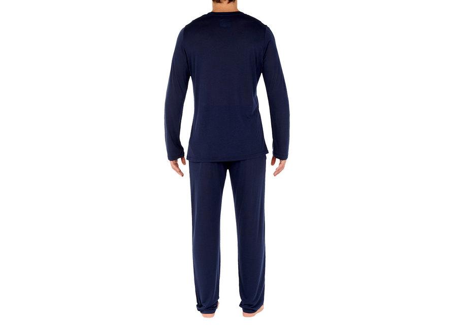 HOM Cocooning Long Sleeve Shirt V-Neck Navy