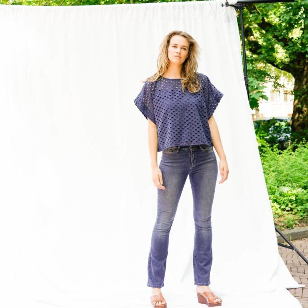 Oversized broderie top with singlet