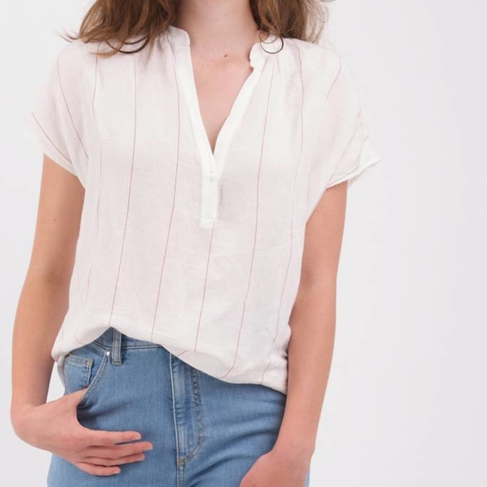 Linen striped oversized top red & white