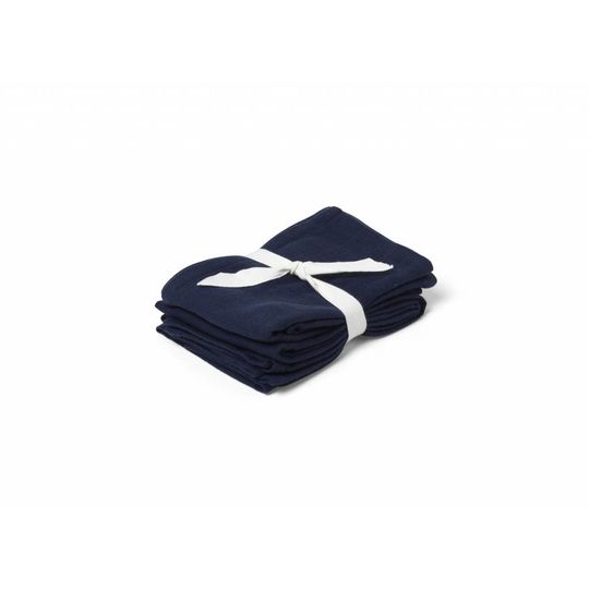 liewood hannah muslin cloth solid navy blue - 2 pack