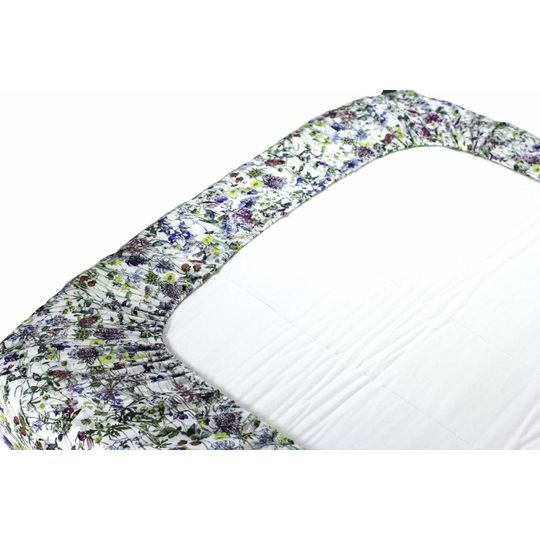 super carla fitted sheet junior wild flowers blue 70x140