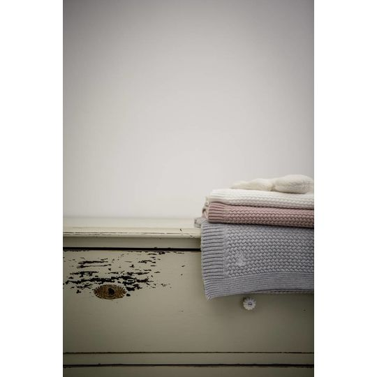 mies & co knitted cotton crib blanket offwhite 80x100 cm