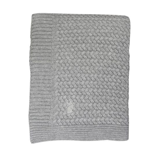 mies & co knitted cotton cot blanket soft grey 110x140 cm