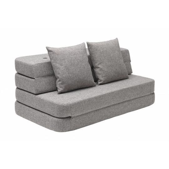 by klipklap KK 3 fold sofa multi grey with grey buttons (120cm)