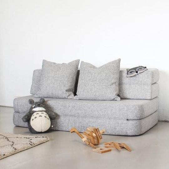 by klipklap KK 3 fold sofa multi grey with grey buttons (140cm)