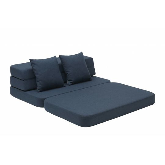 by klipklap KK 3 fold sofa dark blue with black buttons (140cm)