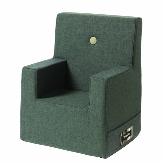 by klipklap KK kids chair XL (2-6 years) deep green with light green button