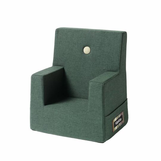 by klipklap KK kids chair (0-3 years) deep green with light green button