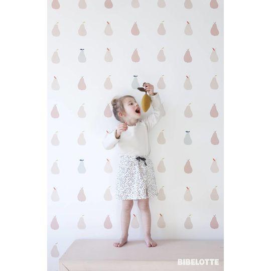 bibelotte pears pink wallpaper