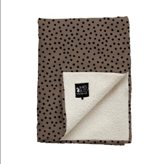 Mies & Co Mies & Co Wiegdeken teddy bold dots dark brown baby 70x100