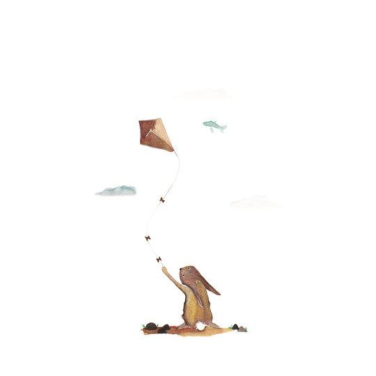 van Dijck Illustratie Iris van Dijck 'Hansje Haas' (konijn met vlieger)