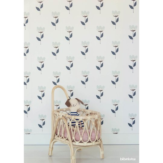 Bibelotte Bibelotte Wallpaper retro flower blue