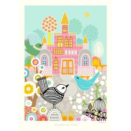 majvillan blueberry bird poster