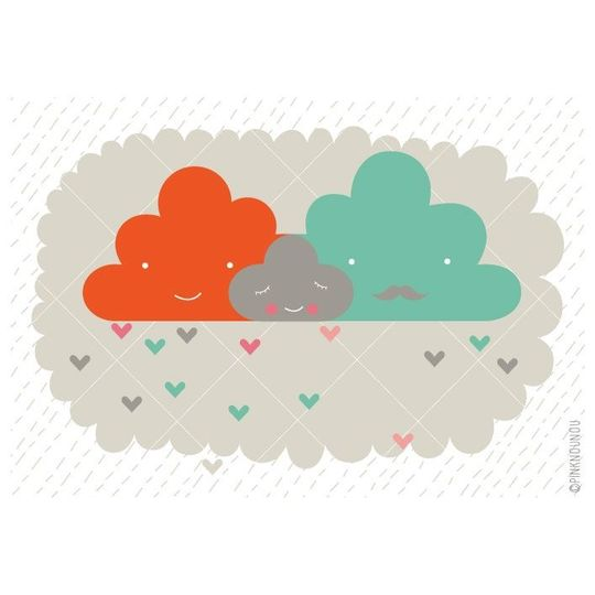 pinknounou clouds family poster -20%