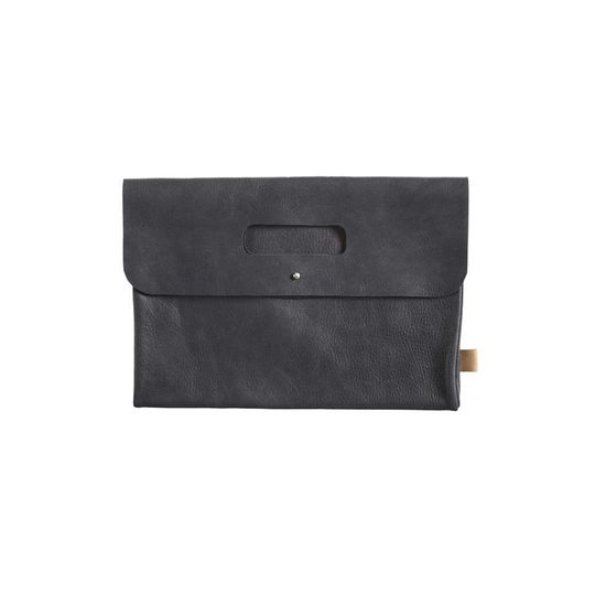 mies & co diaper clutch black leather
