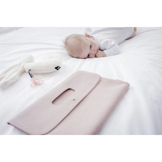 mies & co diaper clutch pink suede