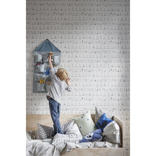 ferm living house wall storage dusty blue