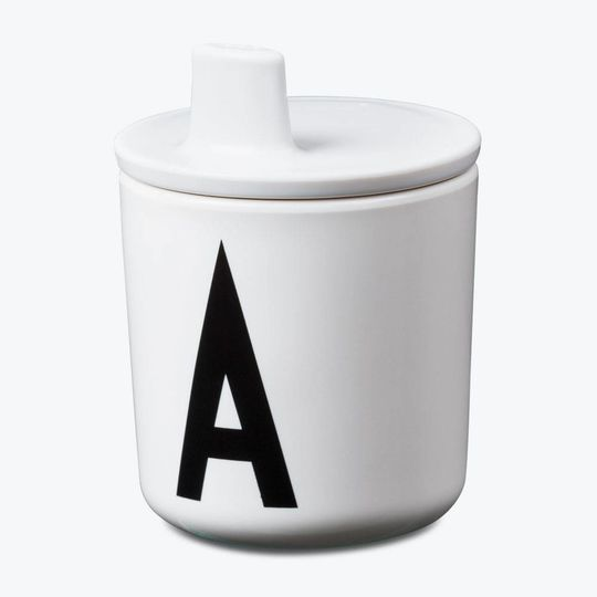 design letters lid for cup white