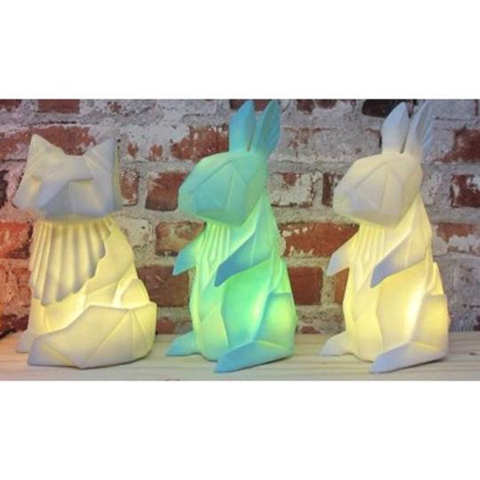disaster designs origami rabbit lamp white