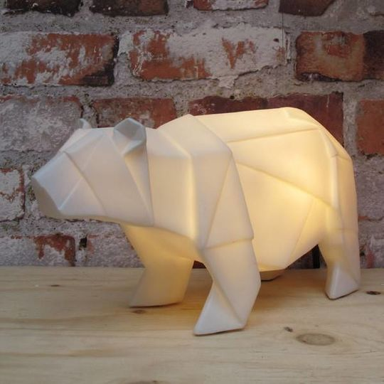 disaster designs origami lamp white bear