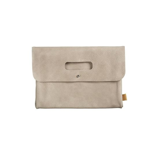 mies & co diaper clutch leather taupe