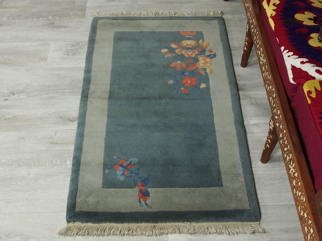 128x71 cm alte chinesische in antikem Stil Teppich Brücke chinese rug No:8