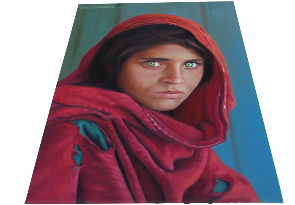 Sharbat Gula  Afghan Mädchen portrait Ölbild Leinwand Afghanistan