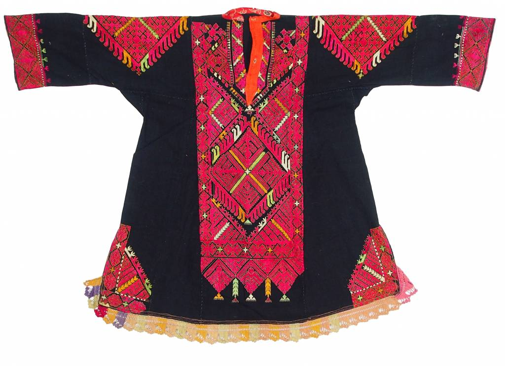 antike Nomaden Kleid swat-tal Pakistan antique Woman's embroidered Dress 17/1
