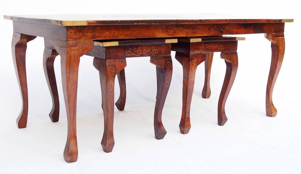 3er Set antik-look orient 1x Couchtisch 2x Beistelltisch Tisch table Messing HOME