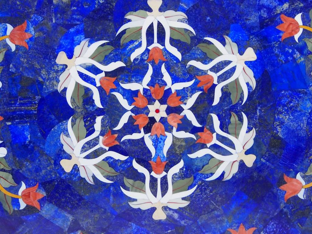 80 cm Marmor Lapis Lazuli Pietra Dura Couchtisch Tisch Florentiner Mosaik Intarsienarbeit wohnzimmertisch (Lapis)