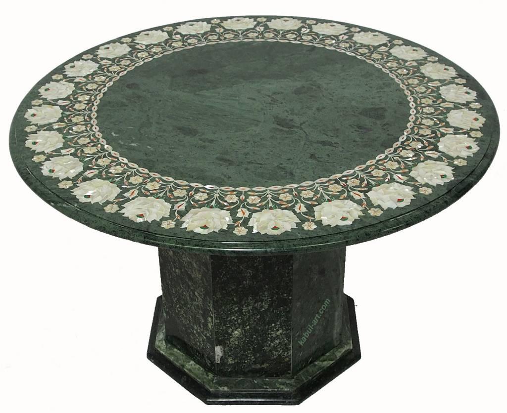 76 cm Pietra Dura CouchtischTisch Florentiner Mosaik table Afghanistan Green